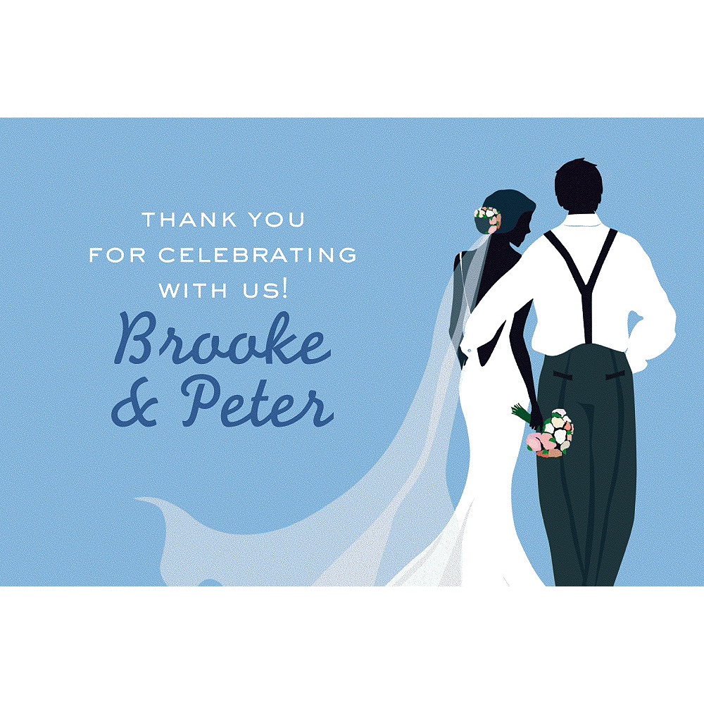 Custom Blue Wedding Couple Silhouette Thank You Notes Image #1
