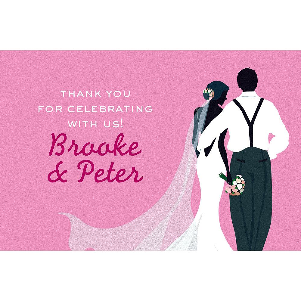 Custom Pink Wedding Couple Silhouette Thank You Notes Image #1