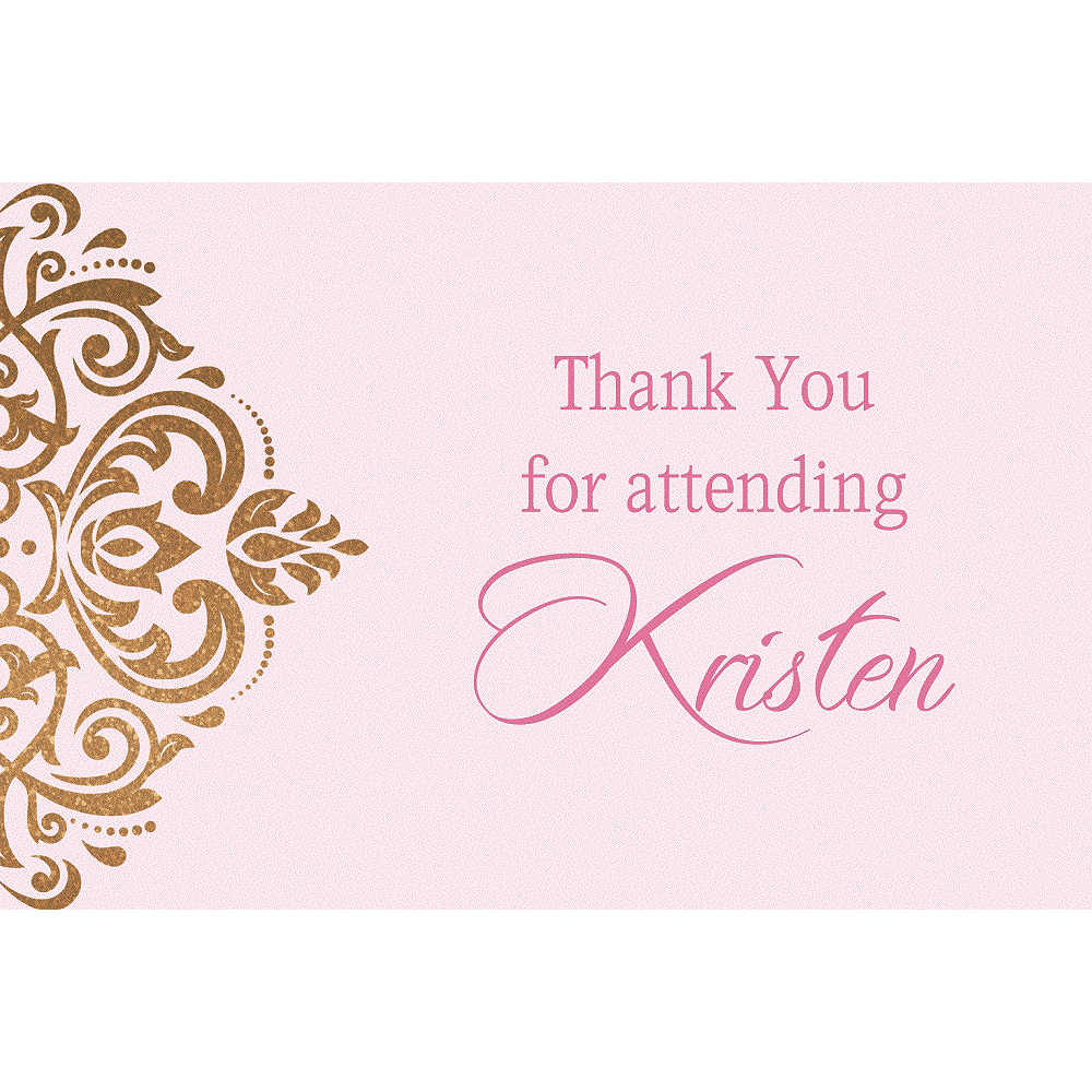 Custom Pink Golden Filigree Thank You Notes Image #1