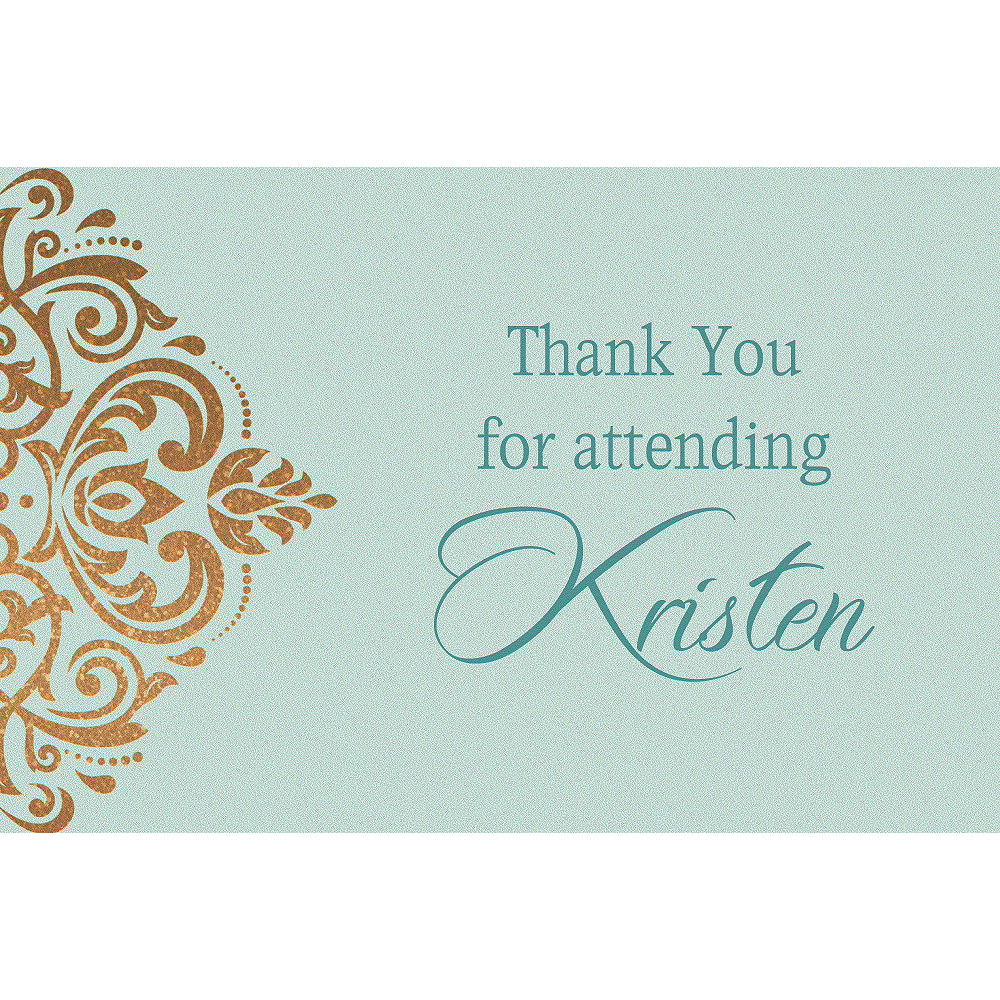 Custom Mint Golden Filigree Thank You Notes Image #1
