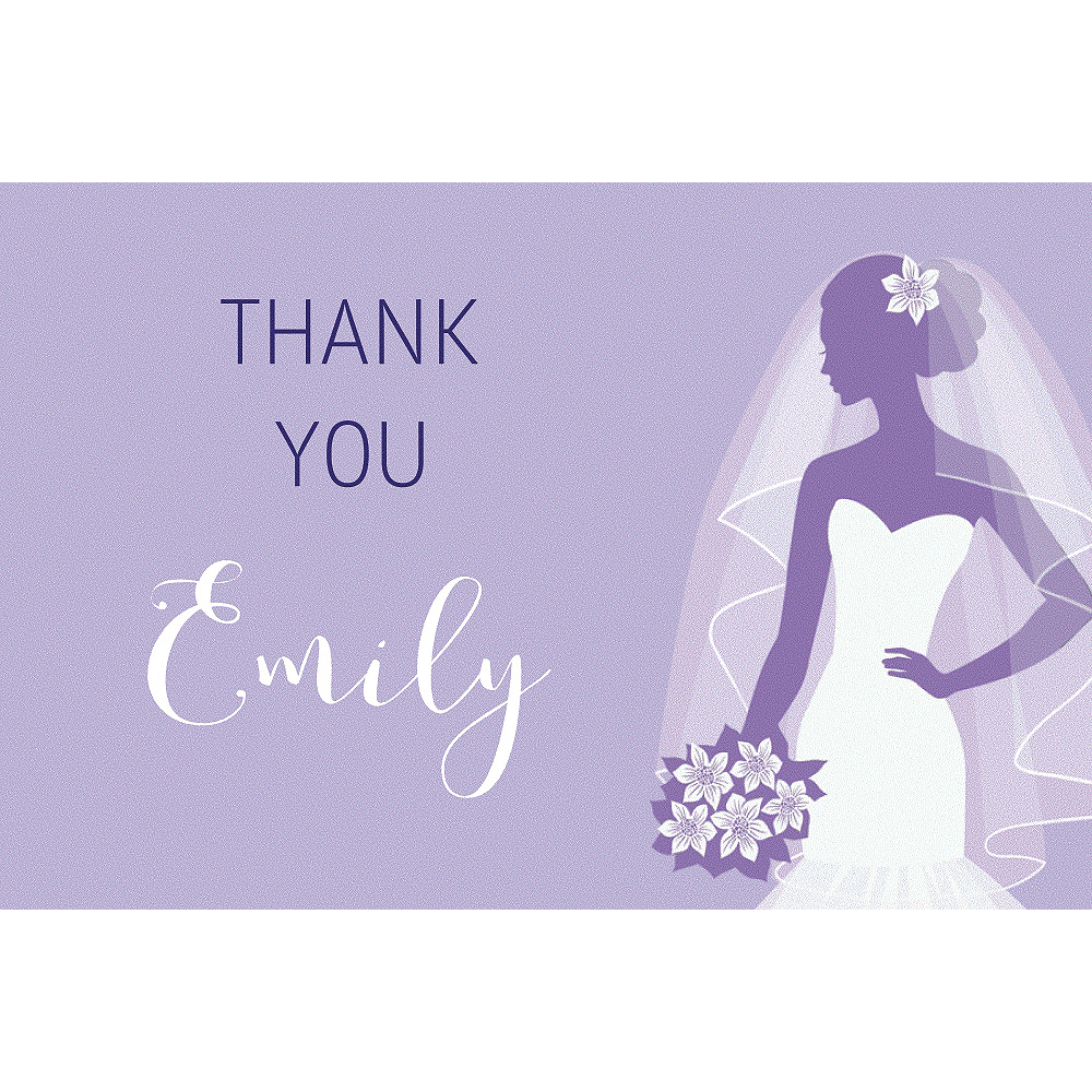 Custom Lavender Bride Silhouette Thank You Notes Image #1