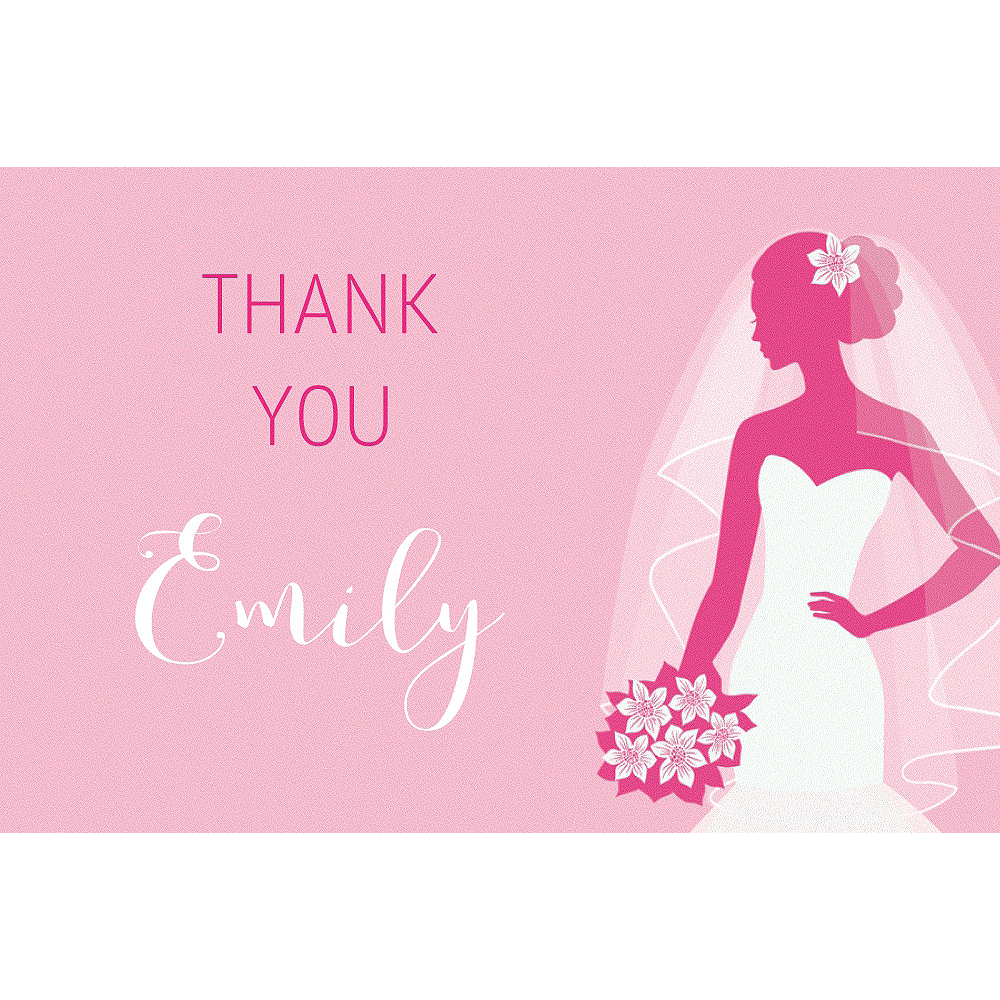Custom Pink Bride Silhouette Thank You Notes Image #1