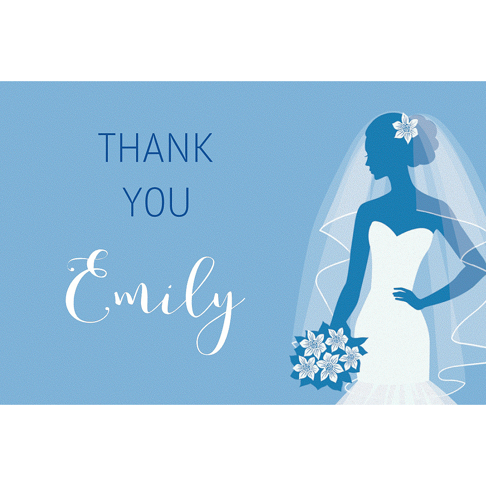 Custom Blue Bride Silhouette Thank You Notes Image #1