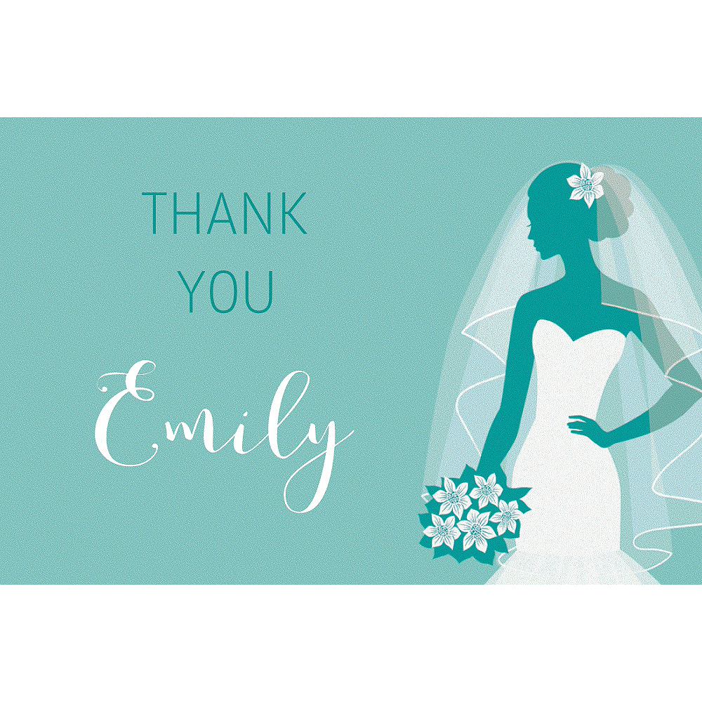 Custom Mint Bride Silhouette Thank You Notes Image #1