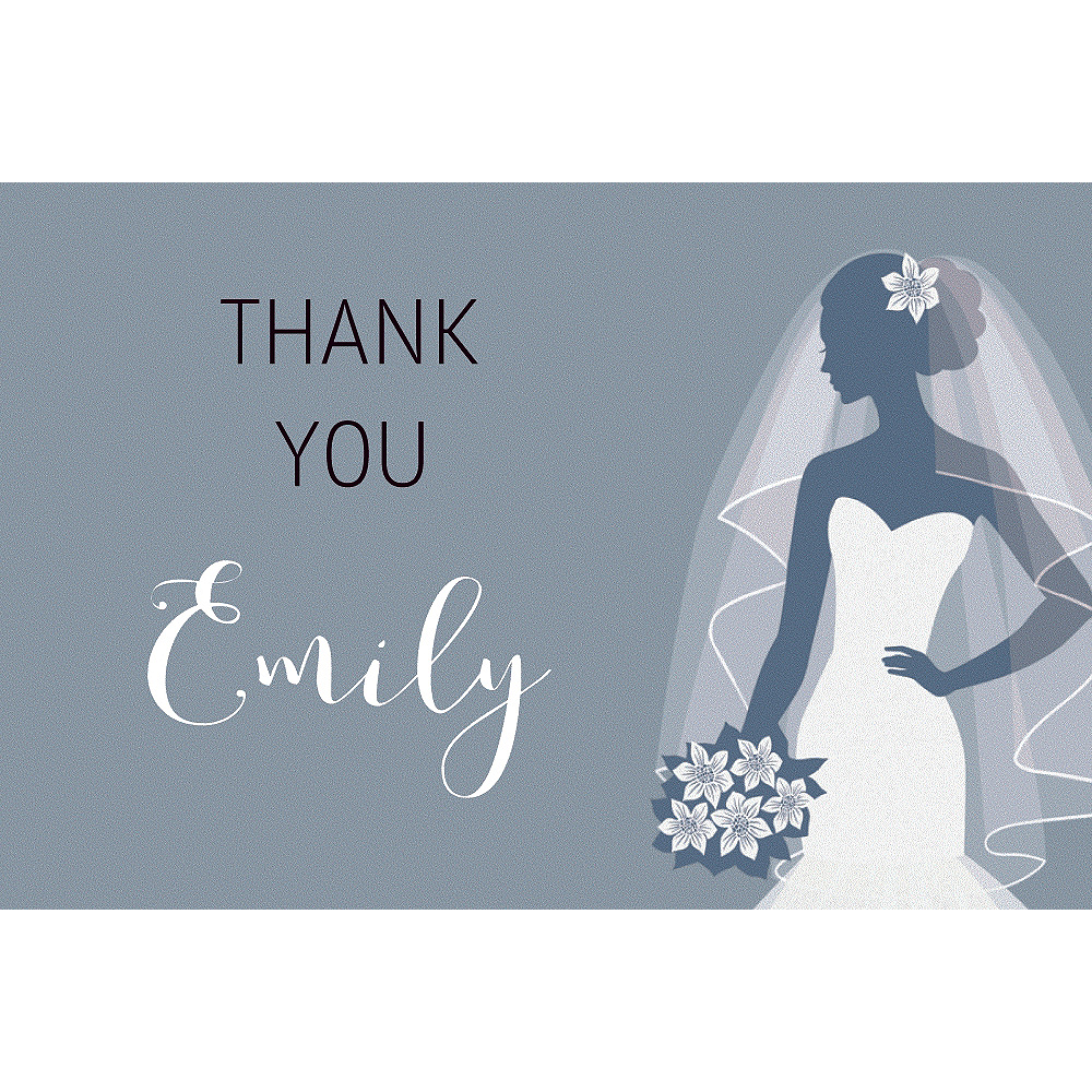 Custom Silver Bride Silhouette Thank You Notes Image #1