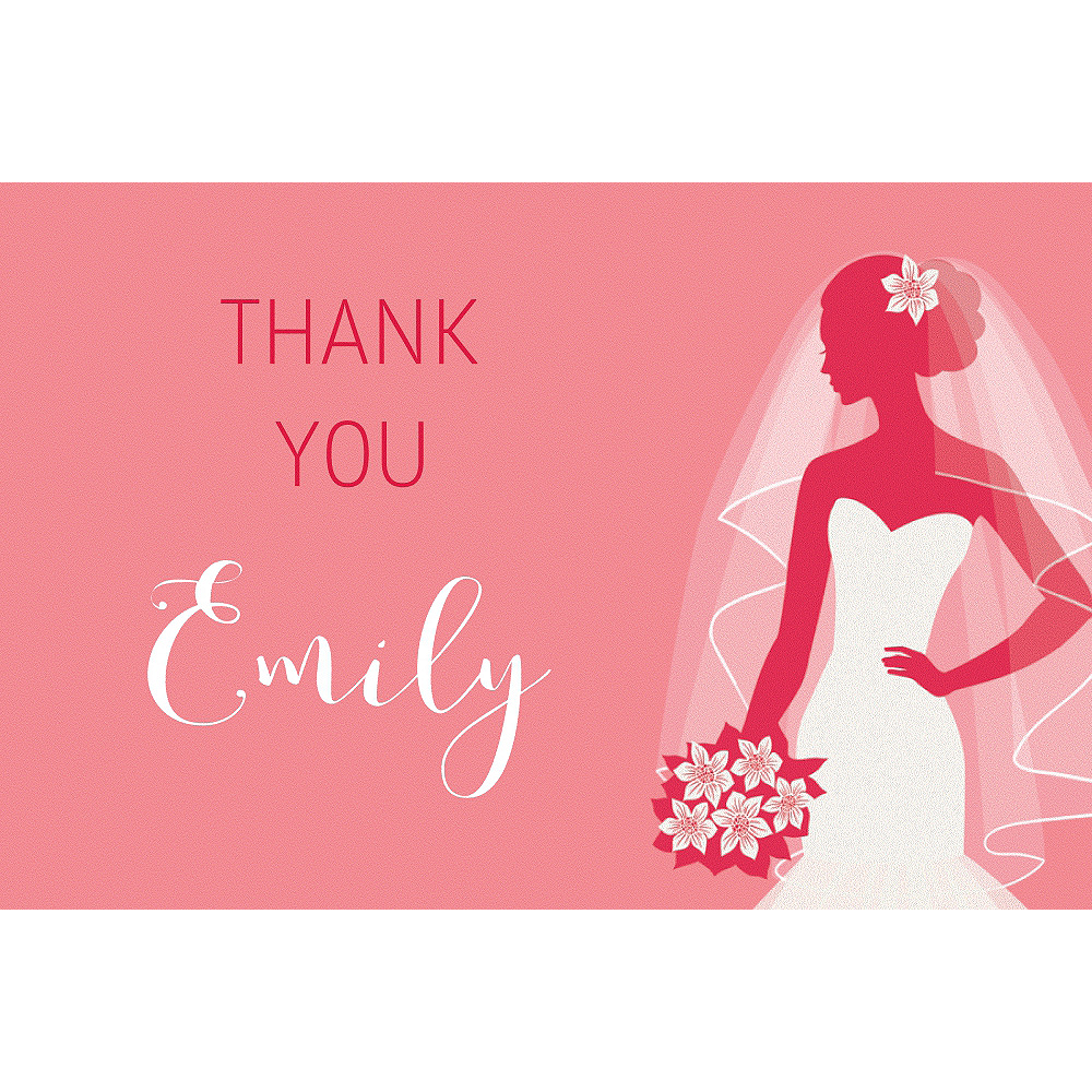 Custom Salmon Bride Silhouette Thank You Notes  Image #1