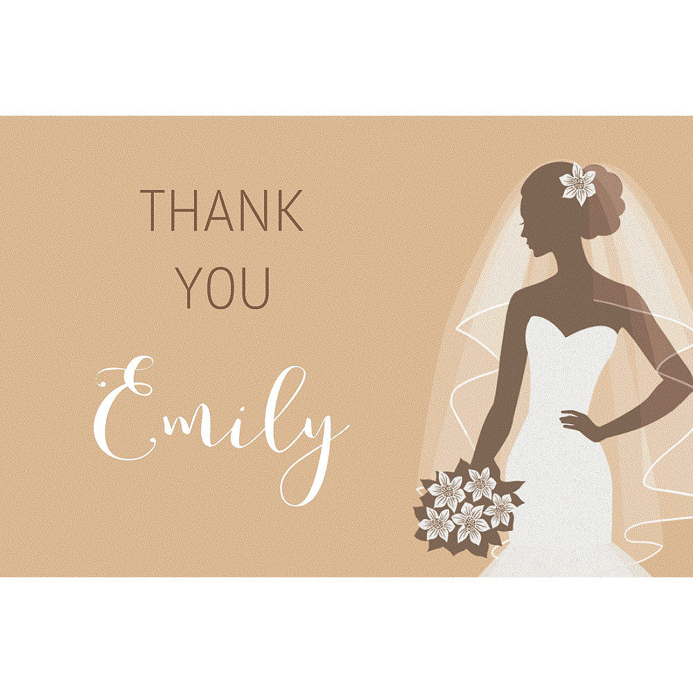 Custom Gold Bride Silhouette Thank You Notes Image #1