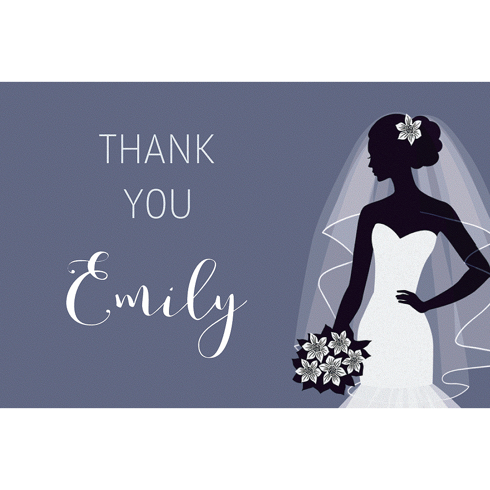 Custom Onyx Bride Silhouette Thank You Notes Image #1