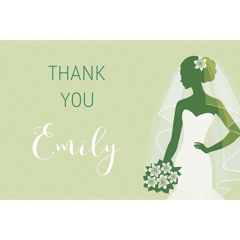 Custom Green Bride Silhouette Thank You Notes Image #1