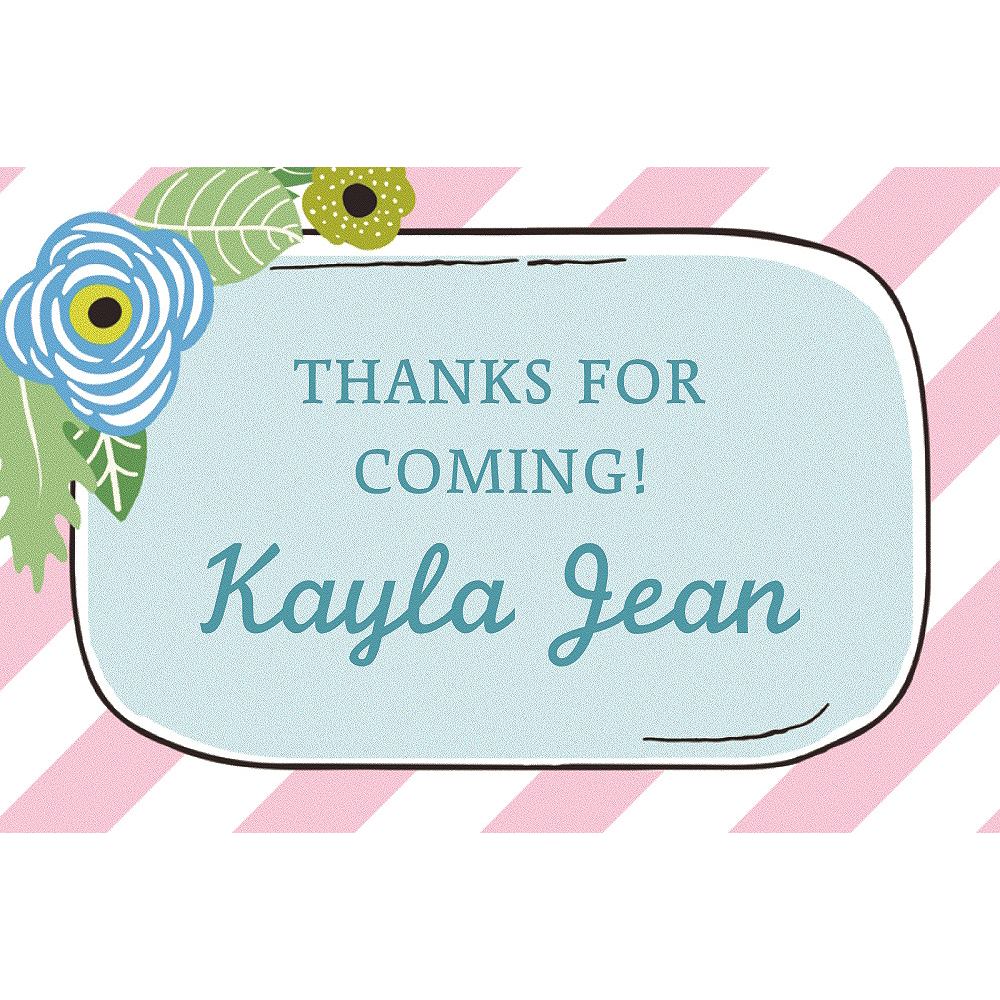Nav Item for Custom Pink Floral Mason Jar Thank You Notes Image #1
