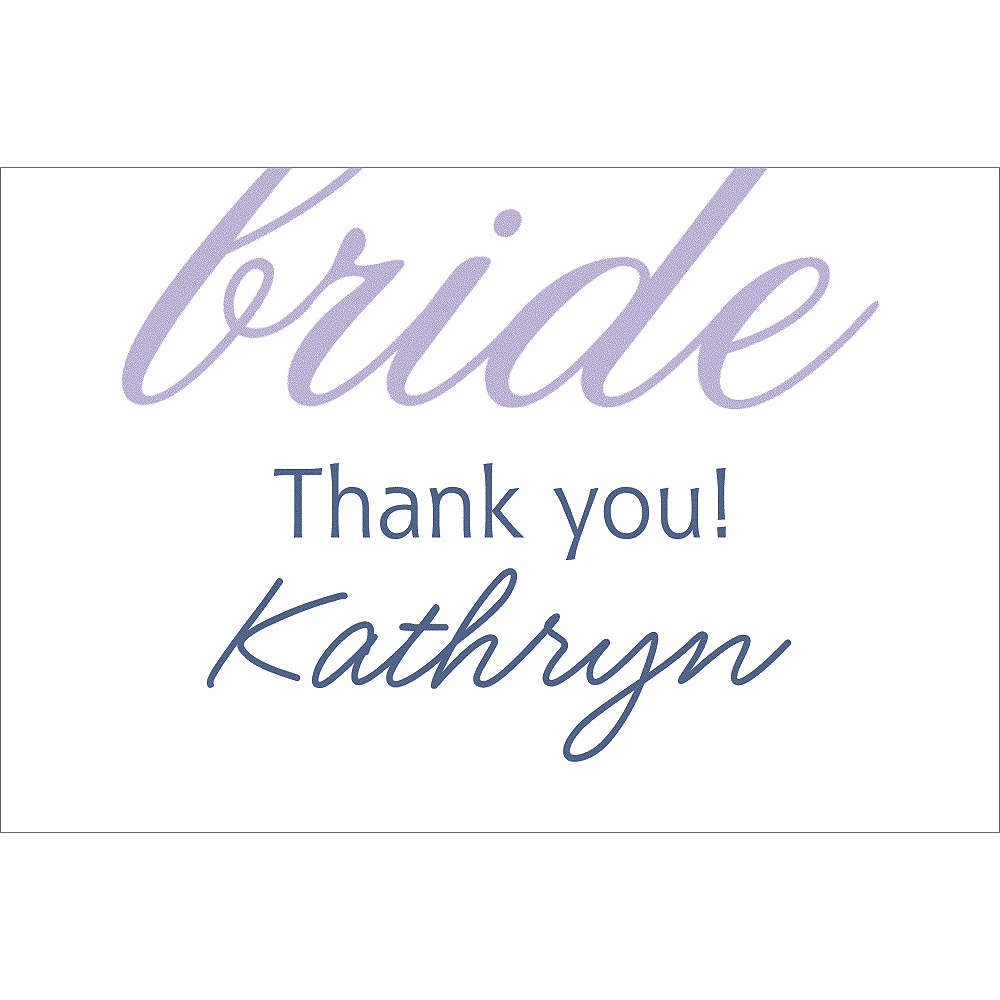 Custom Lavender Here Comes the Bride Thank You Notes Image #1