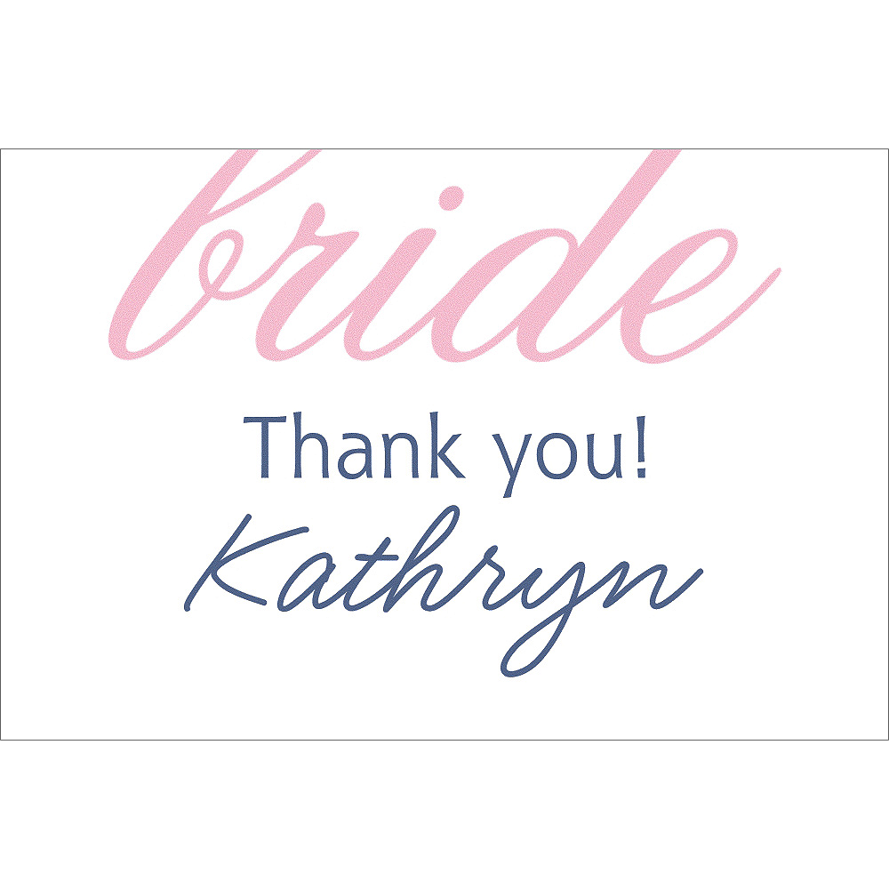 Custom Pink Here Comes the Bride Thank You Notes Image #1