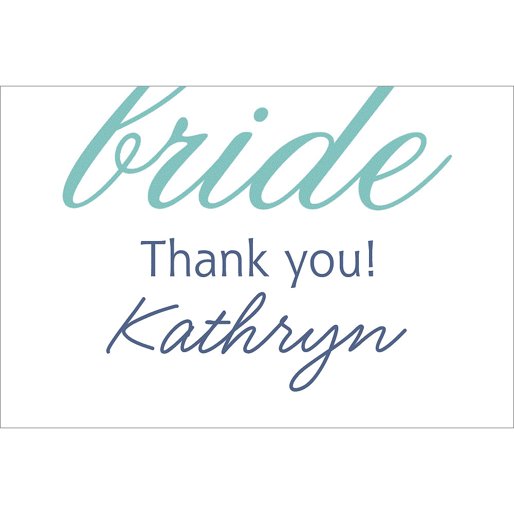 Custom Mint Here Comes the Bride Thank You Notes Image #1
