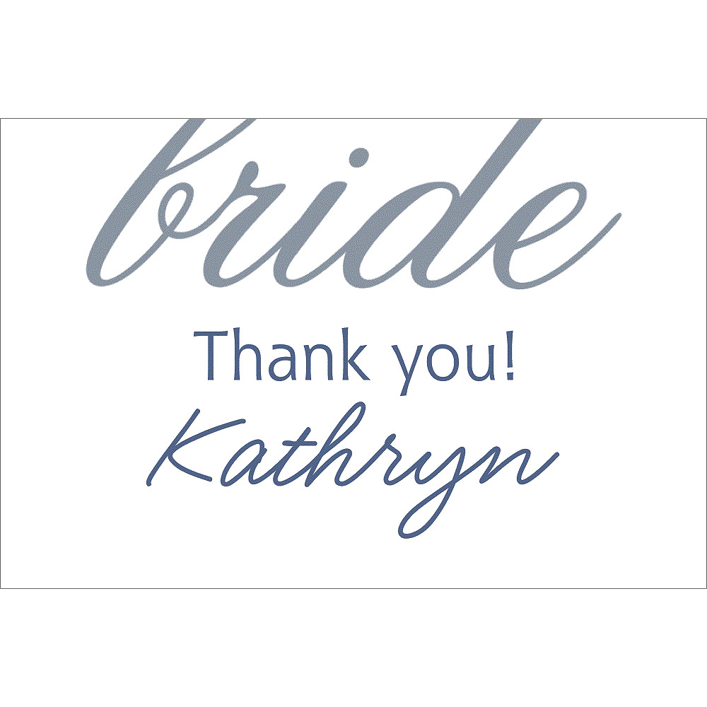 Nav Item for Custom Silver Here Comes the Bride Thank You Notes Image #1