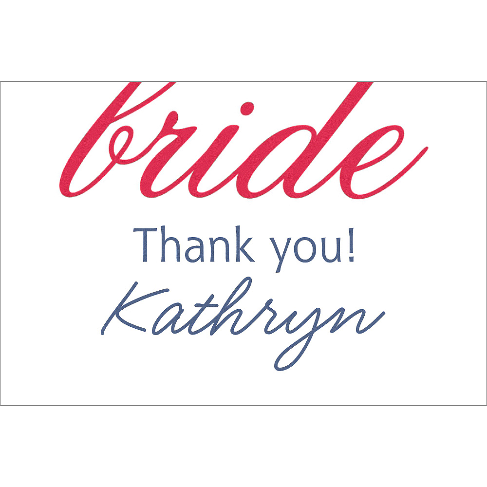 Custom Red Here Comes the Bride Thank You Notes Image #1