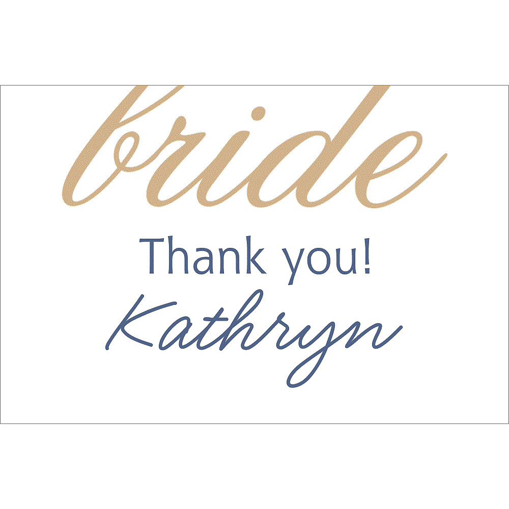 Custom Gold Here Comes the Bride Thank You Notes Image #1