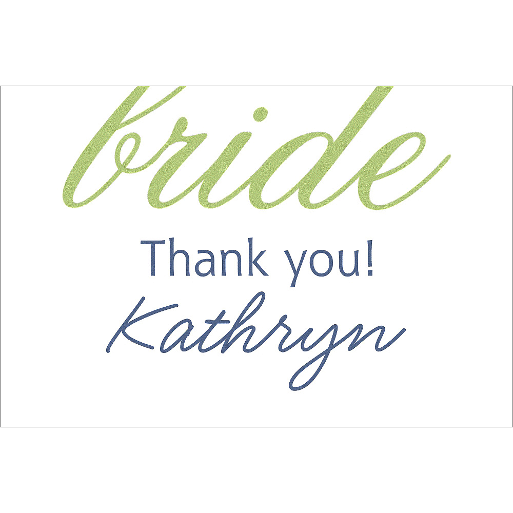 Custom Green Here Comes the Bride Thank You Notes Image #1