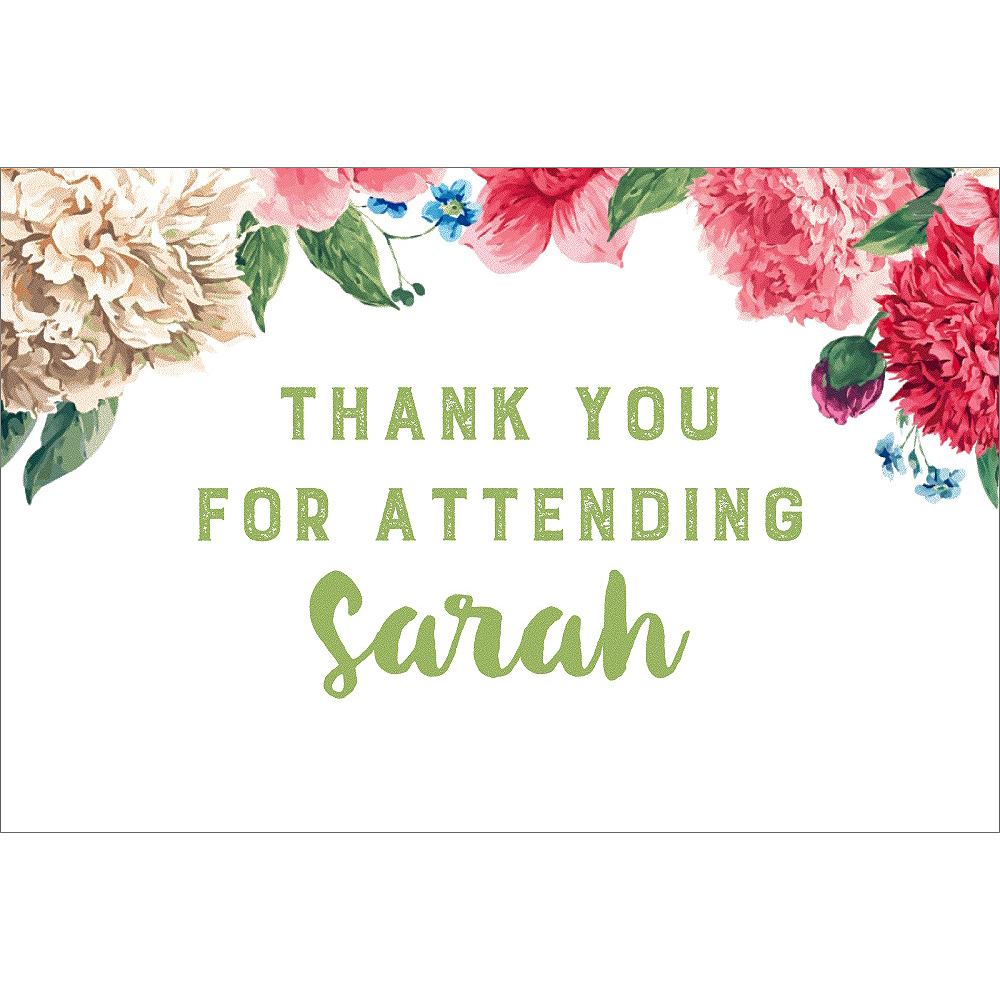 Custom Floral Border Bridal Shower Thank You Notes Image #1