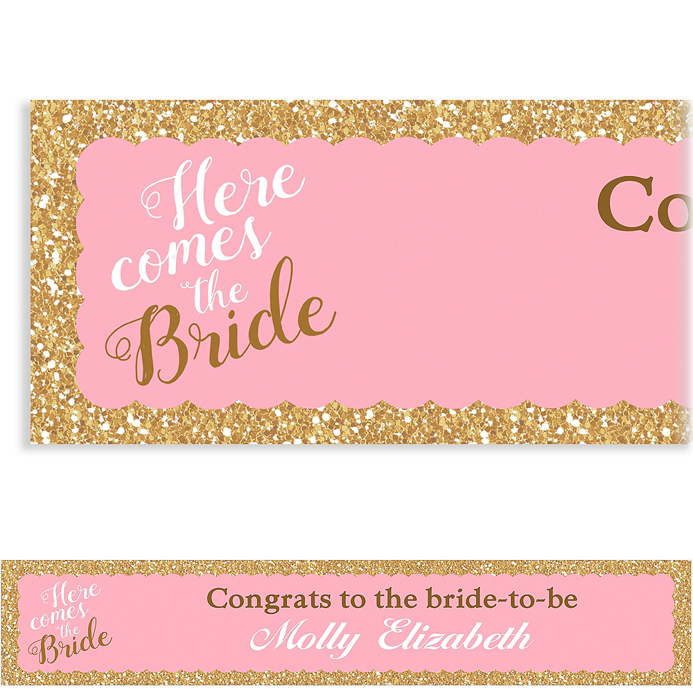 Custom Pink Here Comes the Bride Banner Image #1