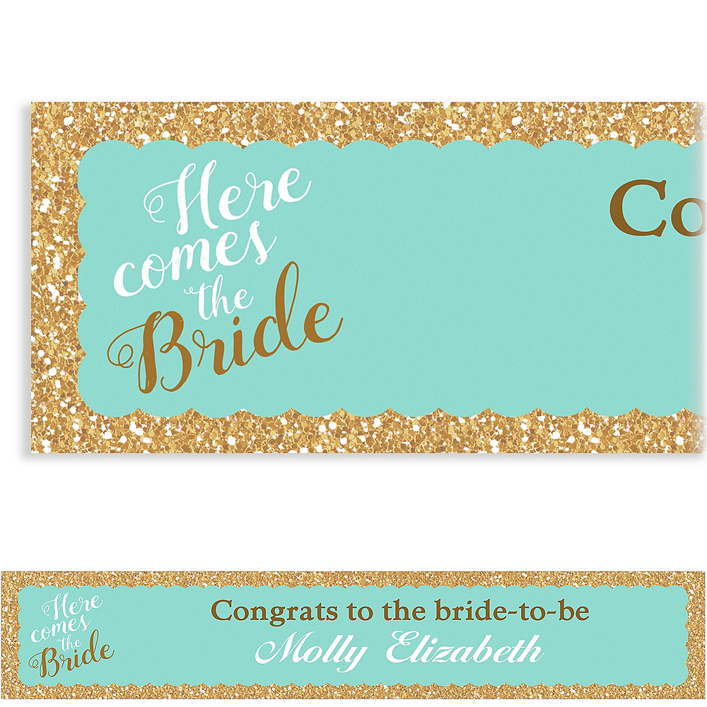 Custom Teal Here Comes the Bride Banner Image #1