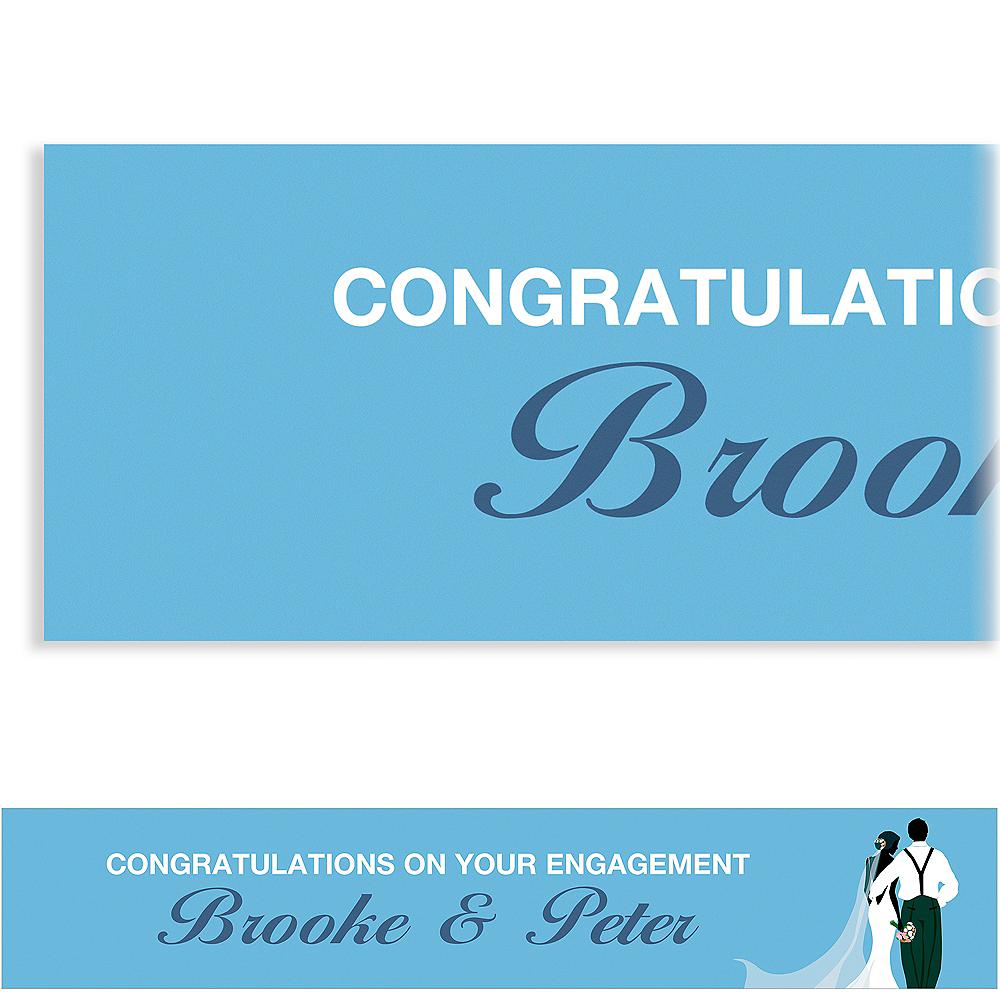Custom Blue Wedding Couple Silhouette Banner Image #1