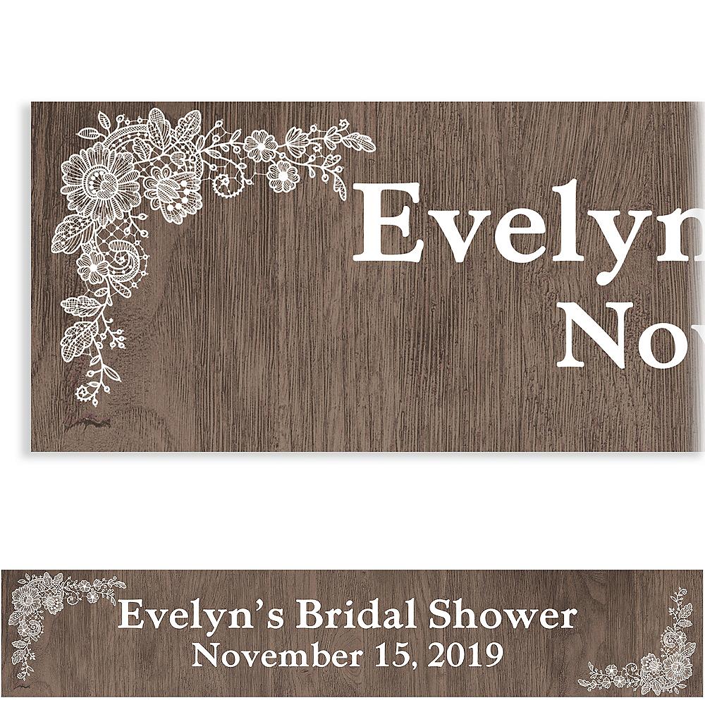 Custom Wood & Lace Bridal Shower Banner Image #1