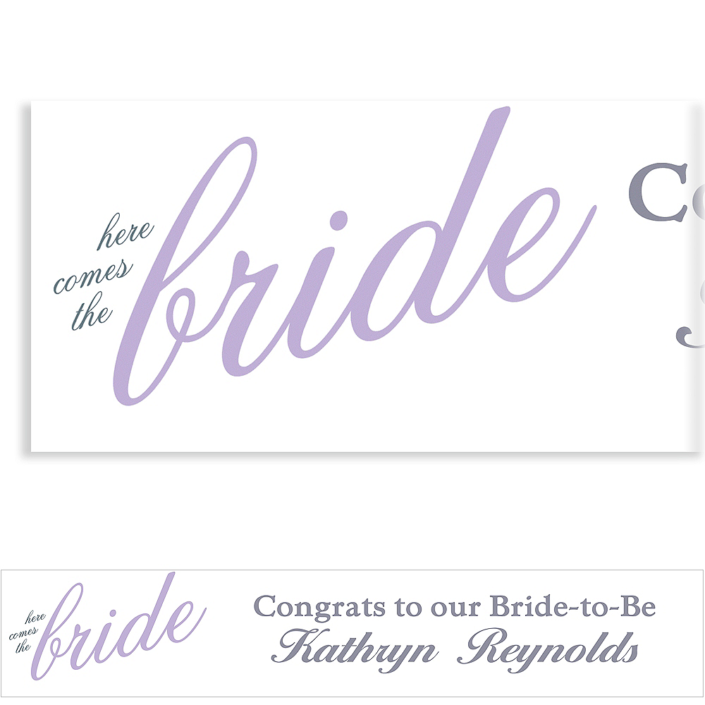 Custom Lavender Here Comes the Bride Banner Image #1