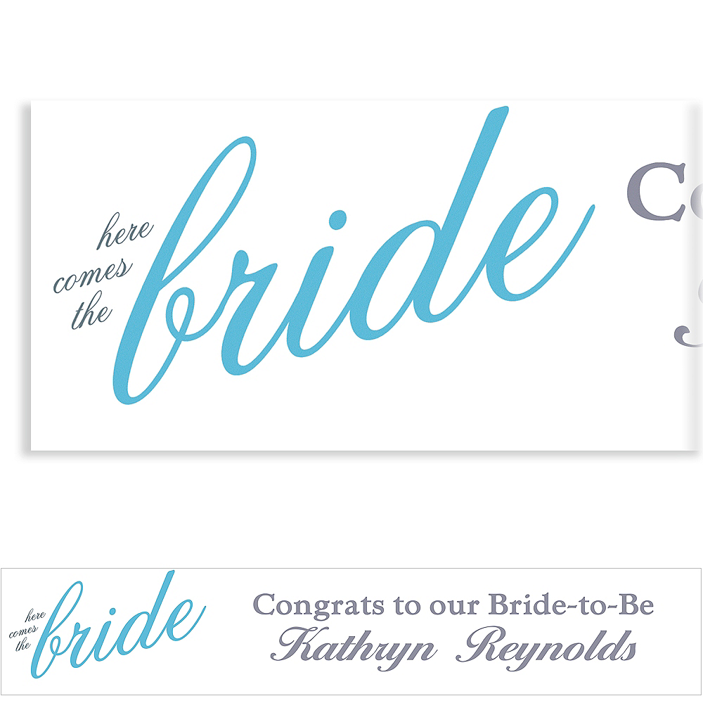 Custom Periwinkle Here Comes the Bride Banner Image #1