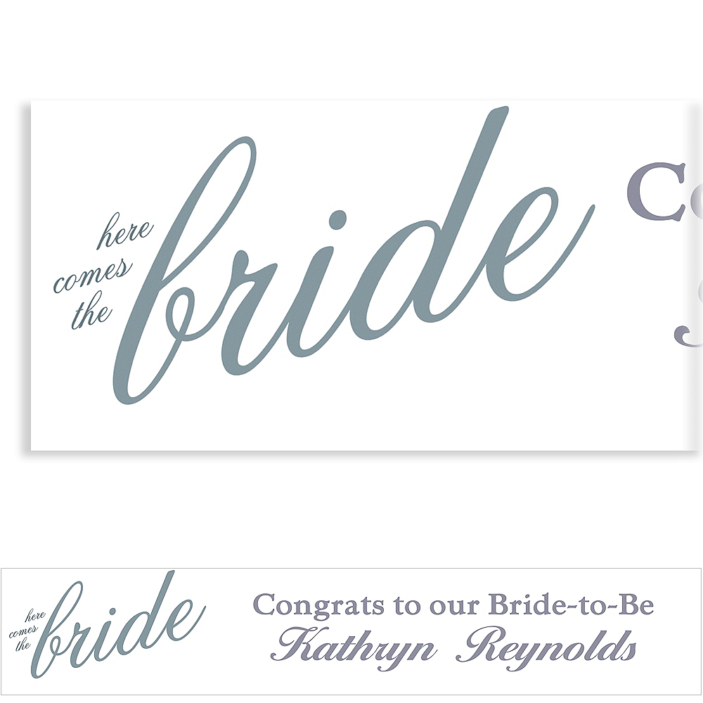 Custom Silver Here Comes the Bride Banner Image #1