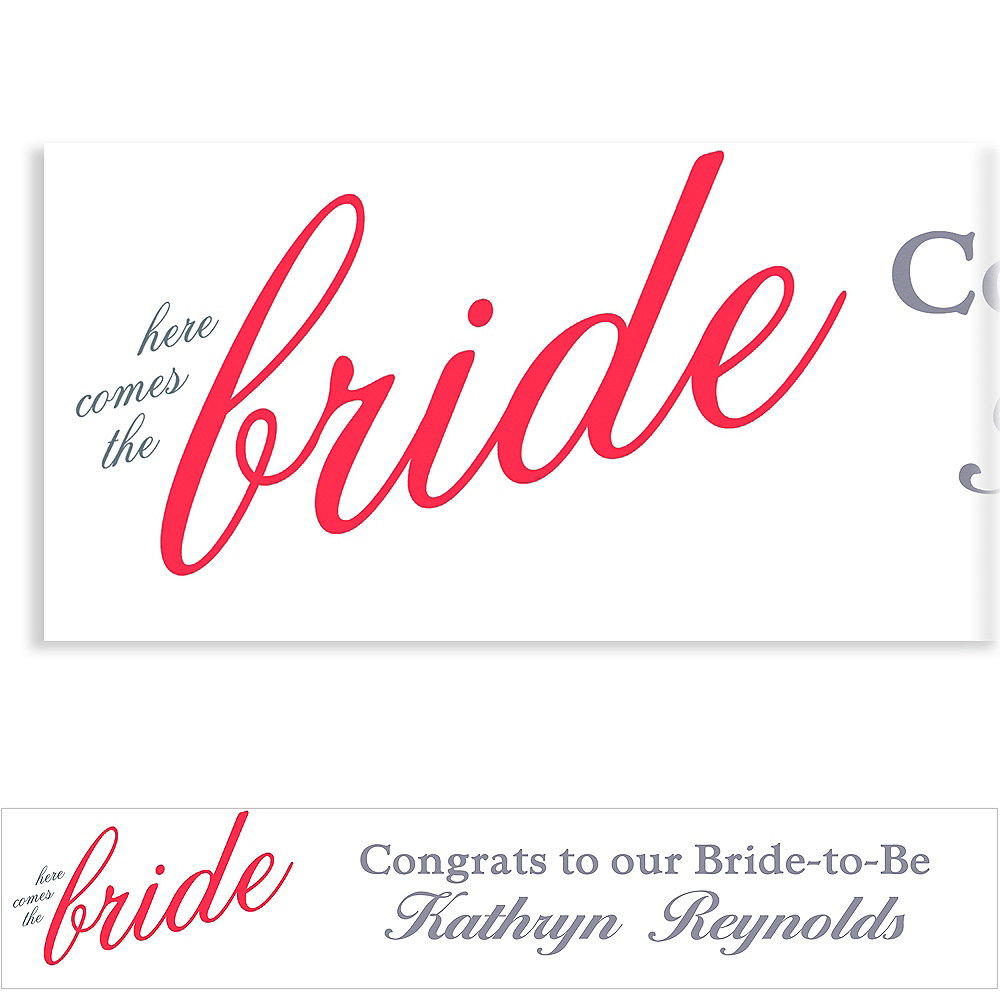 Custom Red Here Comes the Bride Banner Image #1