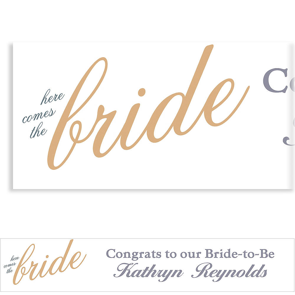 Custom Gold Here Comes the Bride Banner Image #1