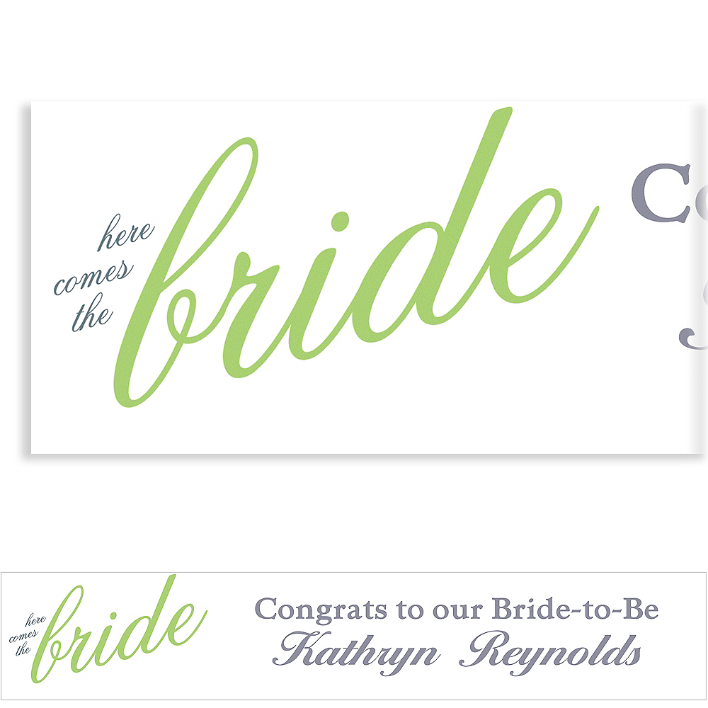 Custom Green Here Comes the Bride Banner Image #1