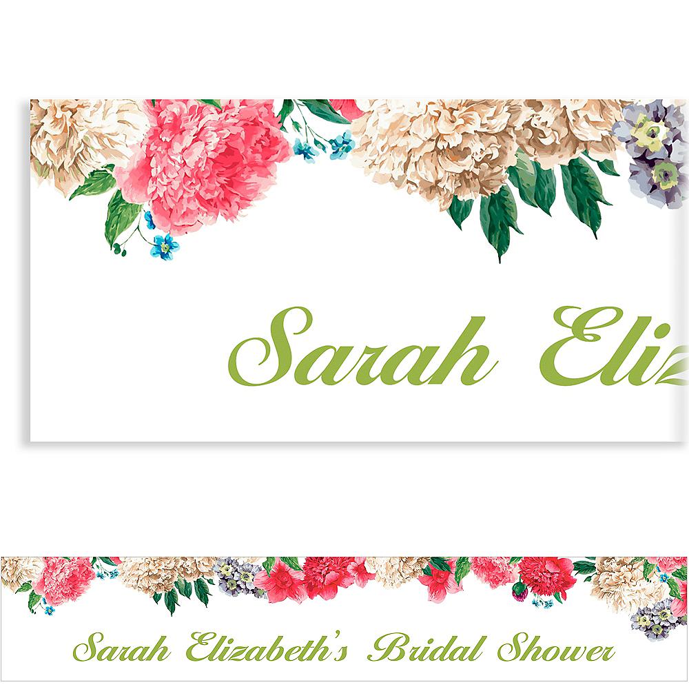 Custom Floral Border Bridal Shower Banner Image #1