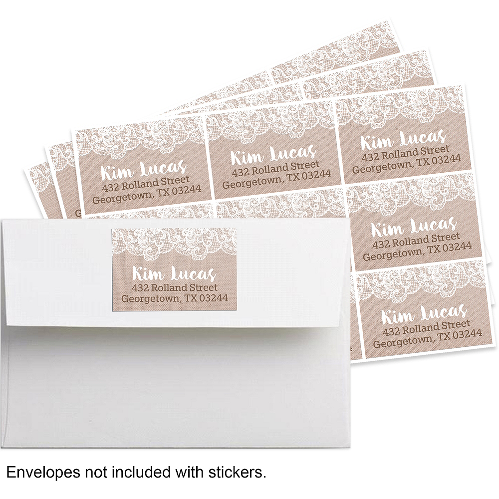 Custom Burlap & Lace Bridal Shower Stickers Image #1