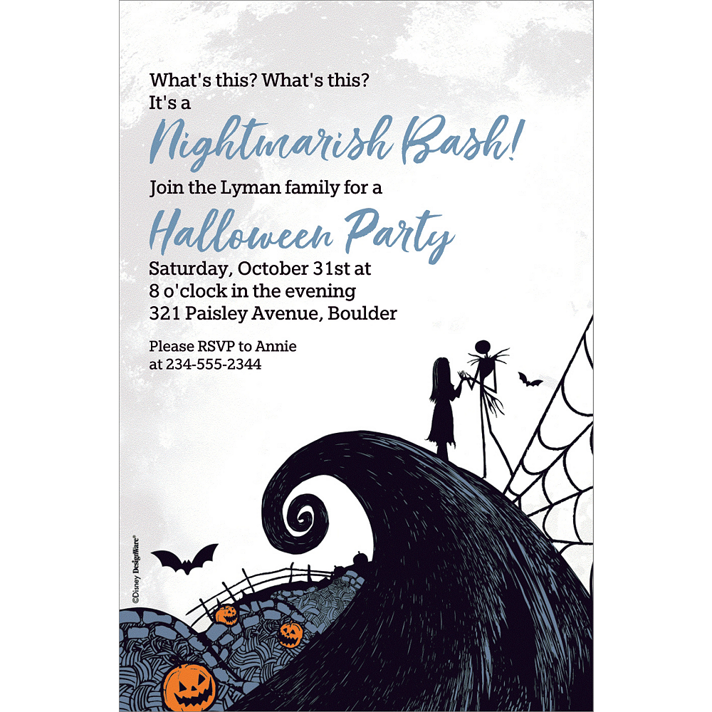 custom nightmare before christmas invitations
