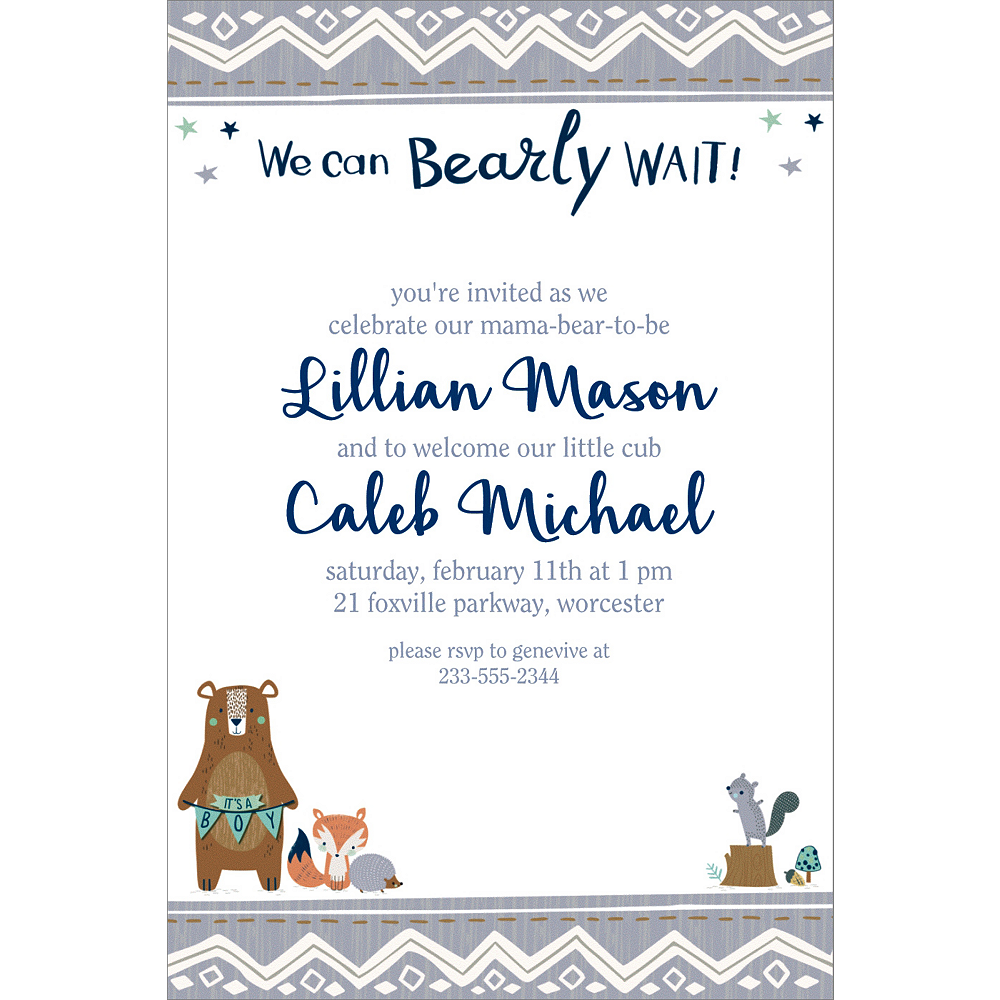 Custom Can Bearly Wait Invitations Image #1