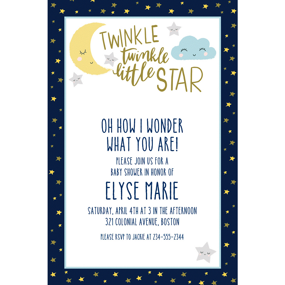 custom twinkle twinkle little star invitations party city