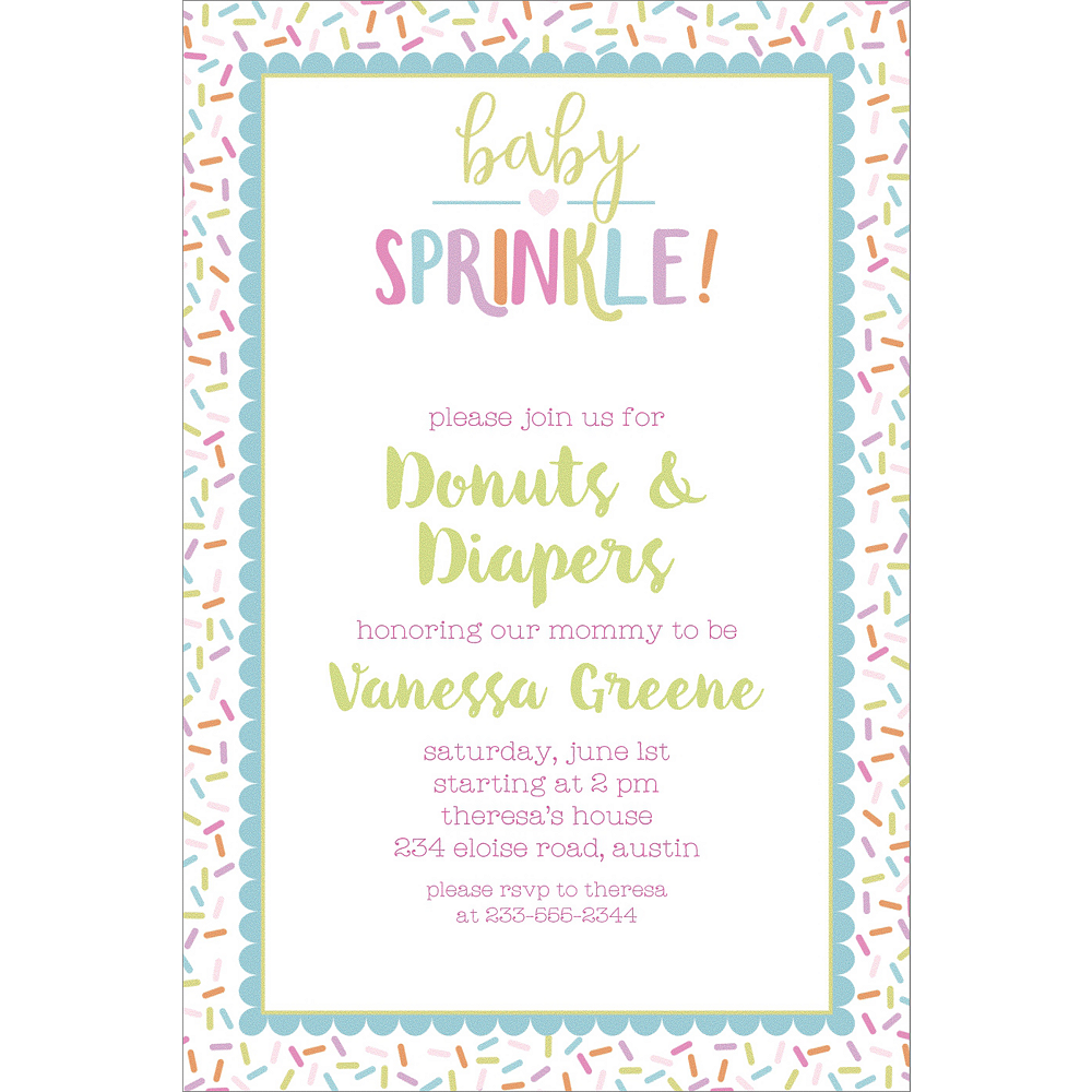 custom baby sprinkle invitations party city
