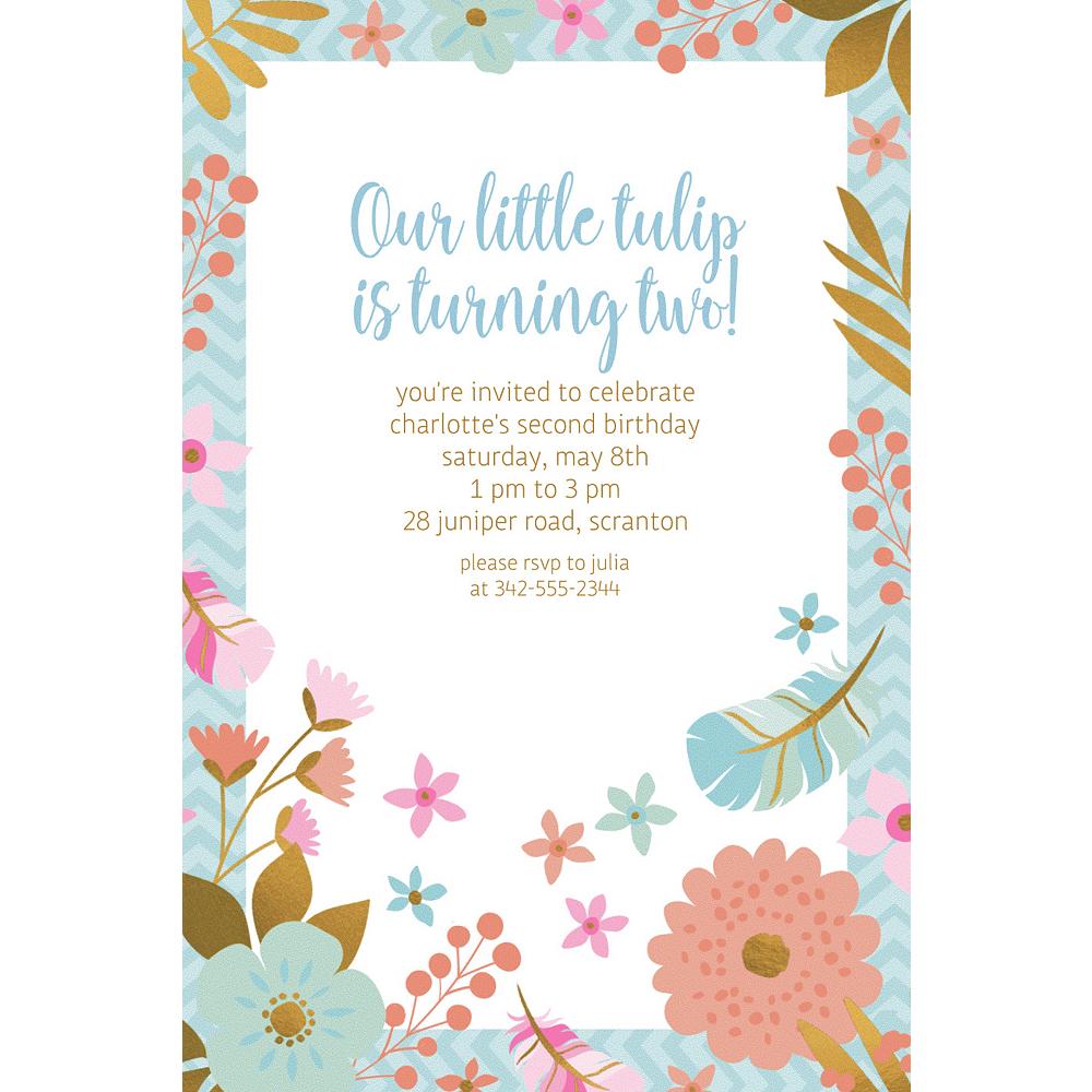 Custom Boho Floral Invitations Image #1