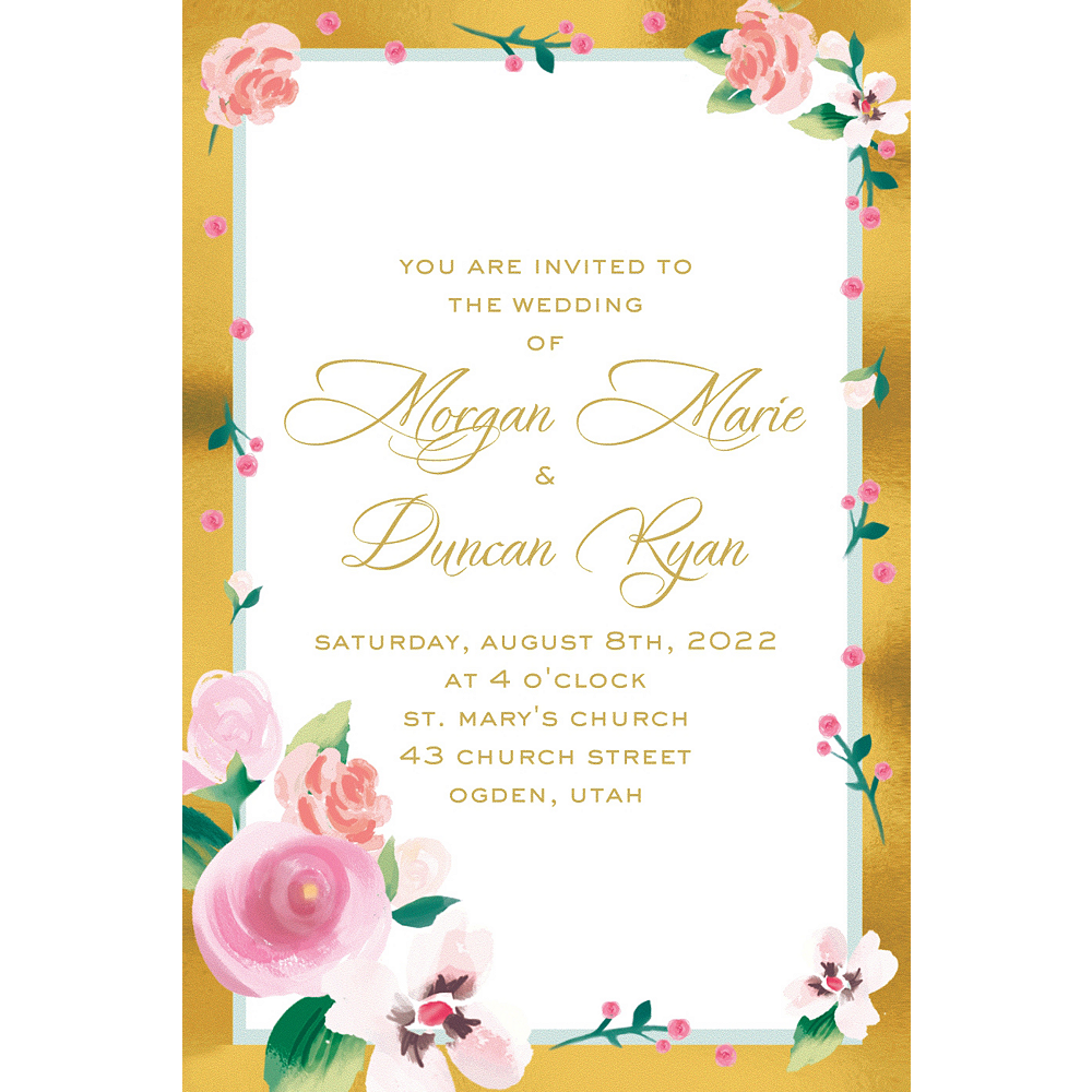 Custom Golden Floral Invitations Image #1