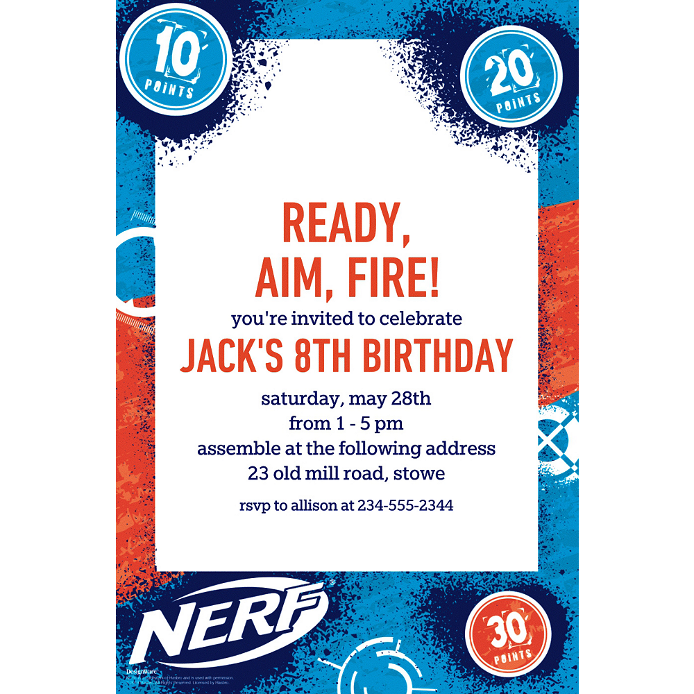 Custom Nerf Invitations | Party City