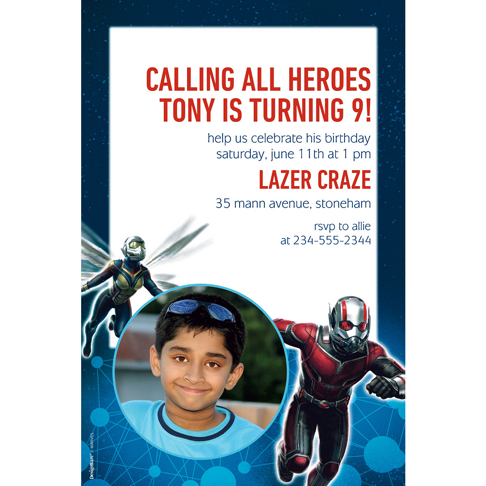 Custom Antman Photo Invitations Image #1