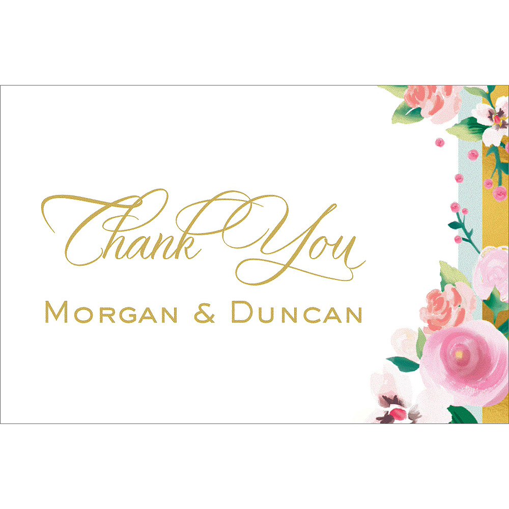 Custom Golden Floral Thank You Notes Image #1