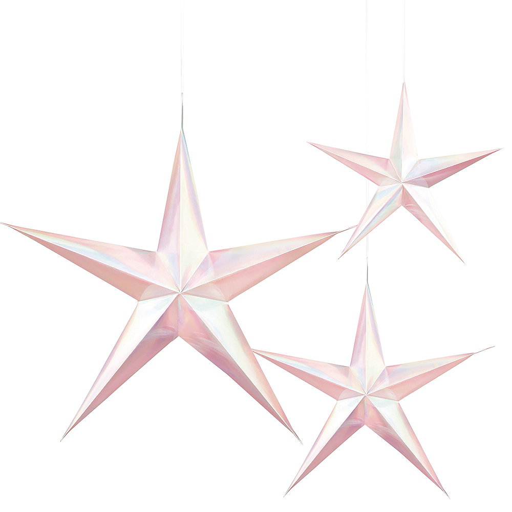 3D Iridescent Star Decorations 3ct Image #1