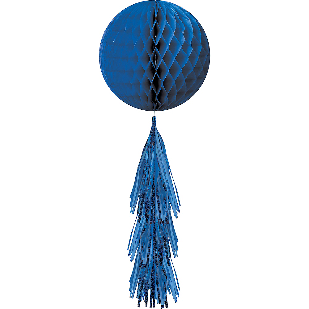 Royal Blue Honeycomb Ball with Tail Image #1