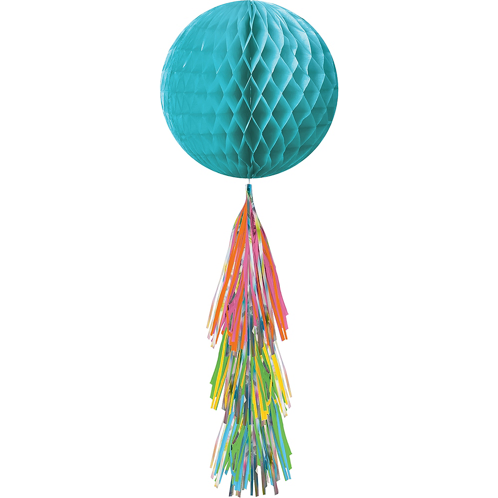 Caribbean Blue Honeycomb Ball with Multi-Colored Tail Image #1