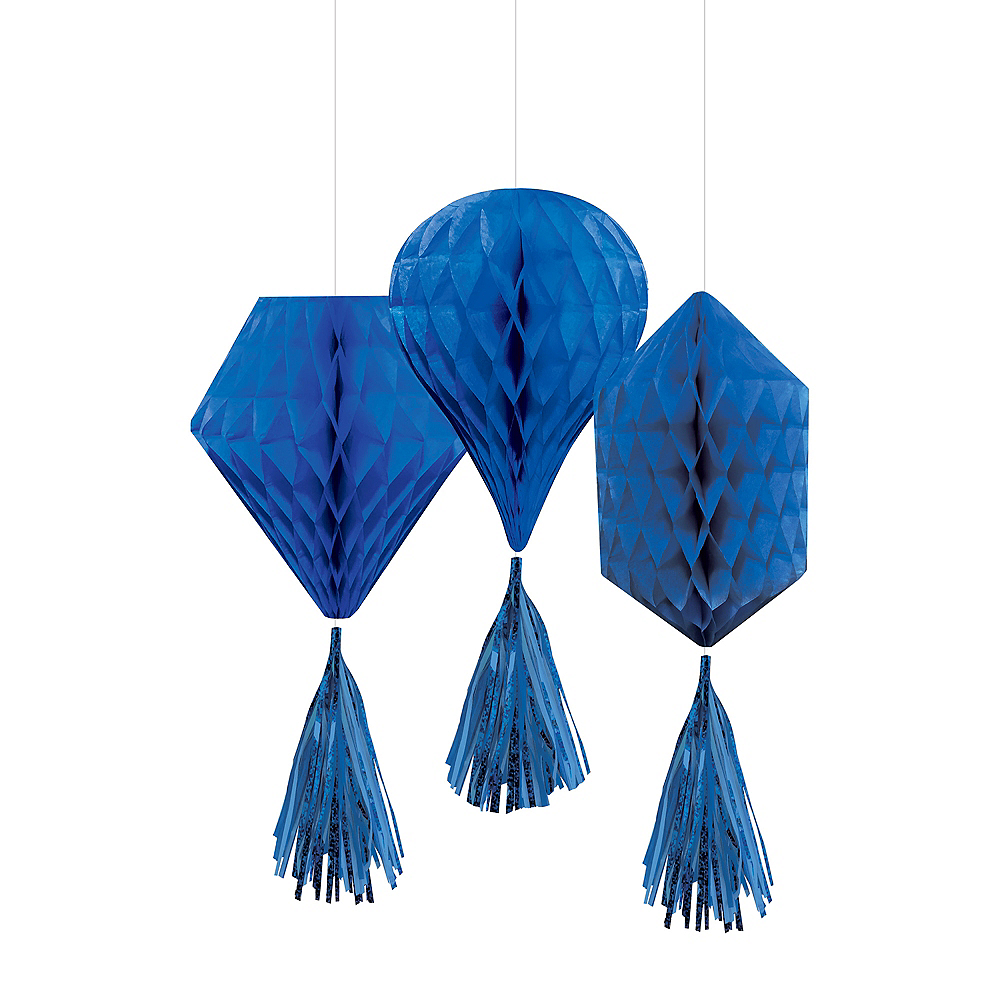 Mini Royal Blue Honeycomb Decorations with Tails 3ct Image #1
