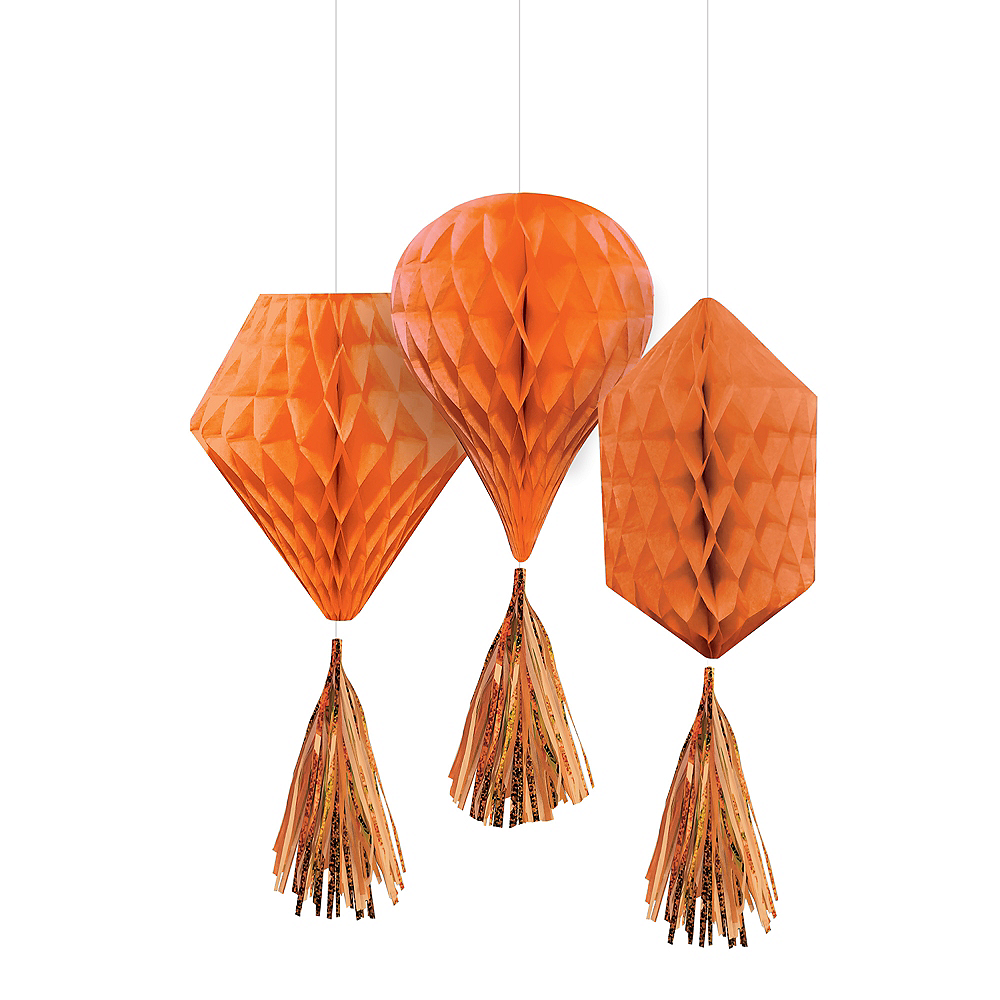 Mini Orange Honeycomb Decorations with Tails 3ct Image #1