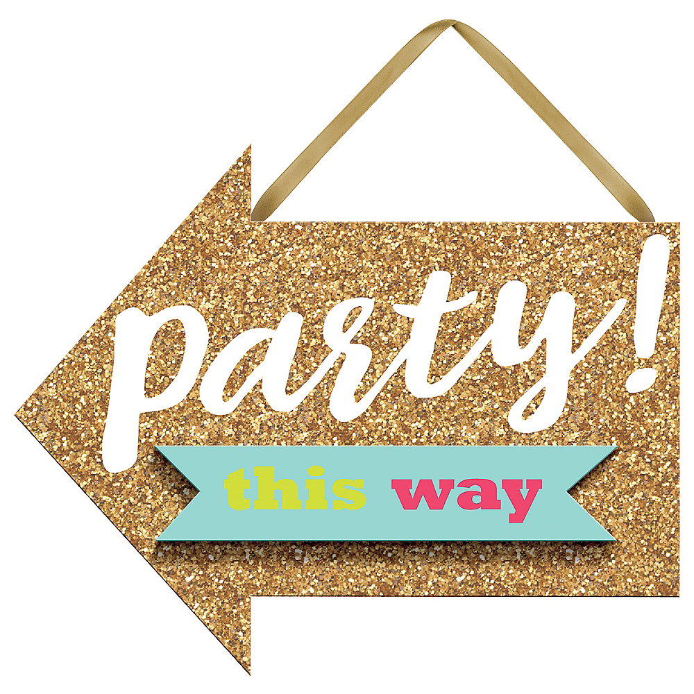 Mini Glitter Gold Sign of the Times Party Sign Image #1