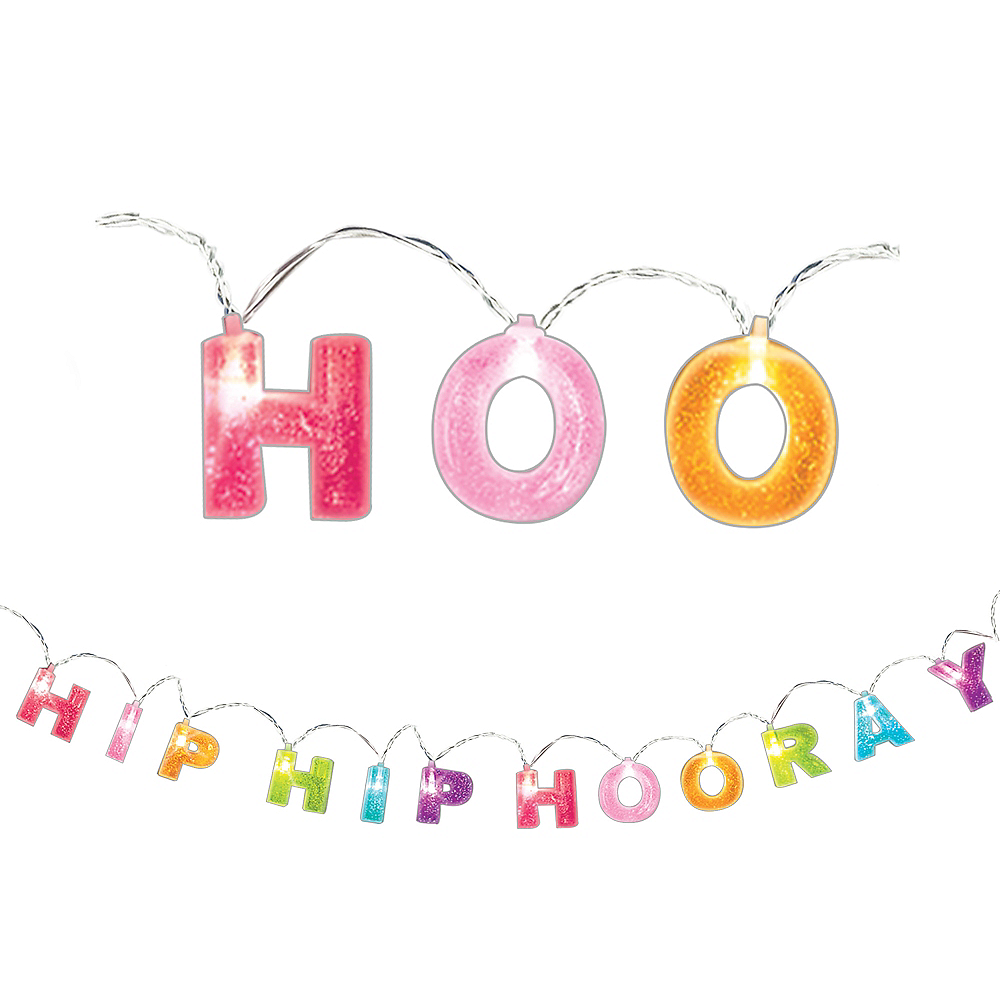 Glitter Sign of the Times Hip Hip Hooray String Lights Image #1